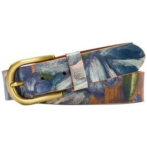 Patricia Nash Vietri Blue Clay Floral Leather Belt